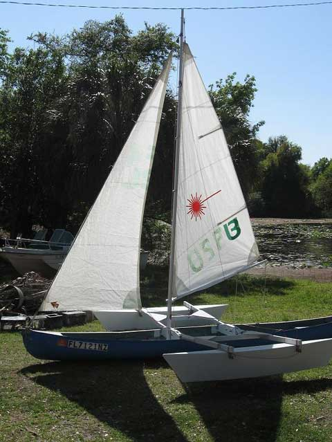 Trimaran custom canoe sailboat