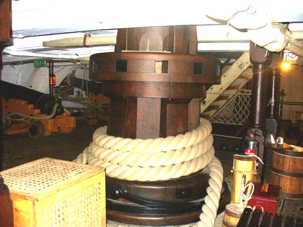 Two huge capstans were used to raise the anchor, this is the lower capstan which was connected to the upper capstan on the floor above.