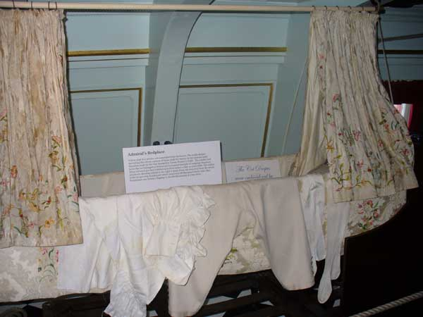 Nelson slept in a wooden cot suspended from the beams