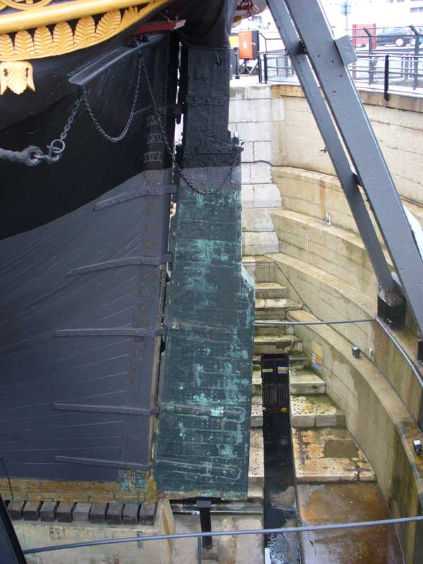 HMS Victory, her rudder has over 20 feet in the water