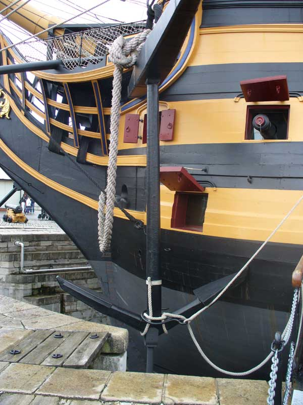 HMS Victory, her anchor required 140 men to raise