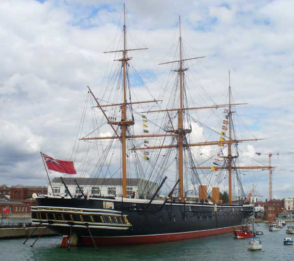 HMS Warrior, view from the harbor showing the starborad side.