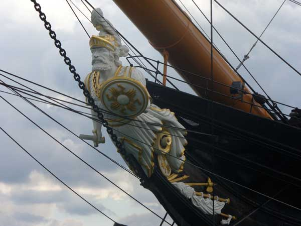 HMS Warrior figurehead, carved from 3,000 pounds or 3 tons (depending on which source you find) of yellow pine.  Figureheads fell out of favor soon after the Warrior's time.