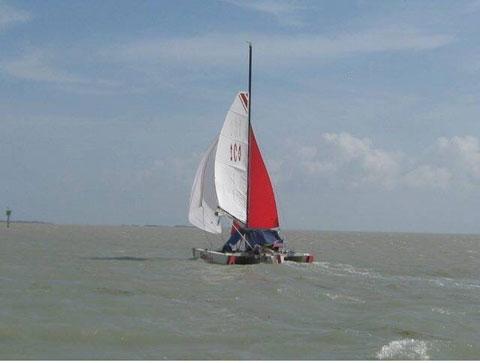 Norman Cross 18' folding trimaran, 2004 sailboat