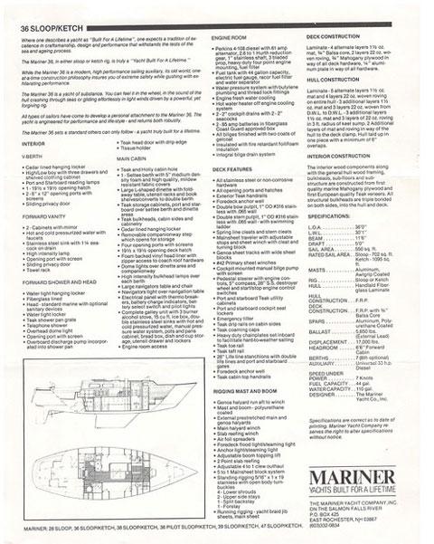 Peter Canning Mariner 36, 1980 sailboat