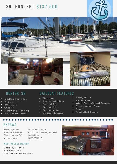 Hunter 39, 2013 sailboat