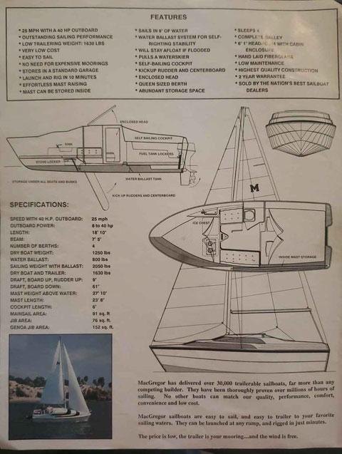 MacGregor sail/power boat 19 sailboat