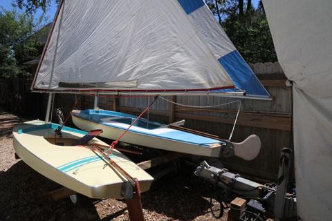 SUNFISH and DOLPHIN SR sailboats on tandem trailer, 1980 sailboat