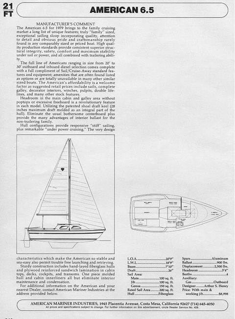American Mariner 6.5, 1981 sailboat