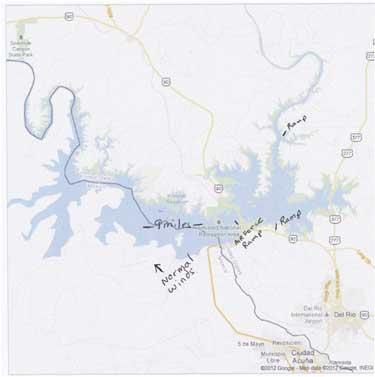Map of Lake Amistad