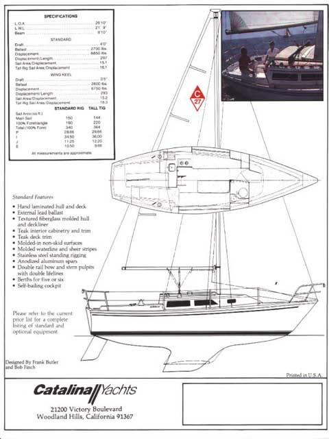 Catalina 27 tall mast, 1986 sailboat