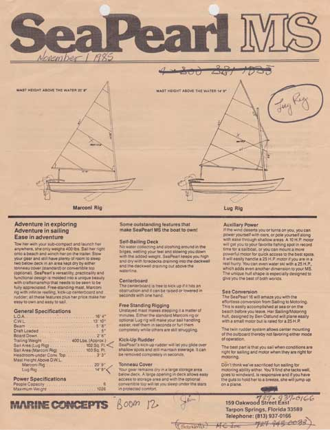 Sea Pearl 16, Motor Sailer, 1986 sailboat