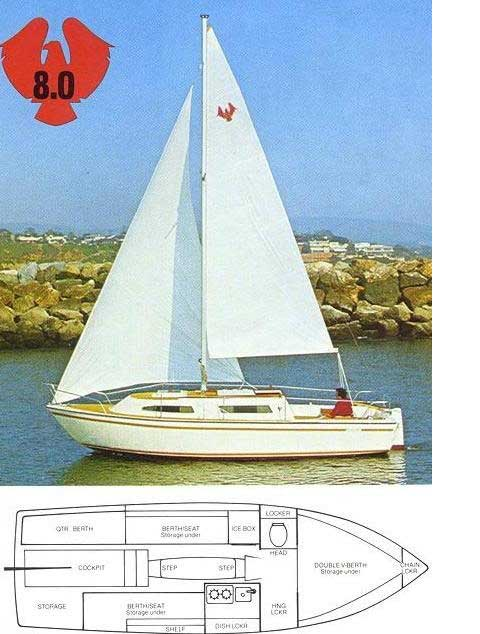 American Mariner 8, 27ft., 1978 sailboat