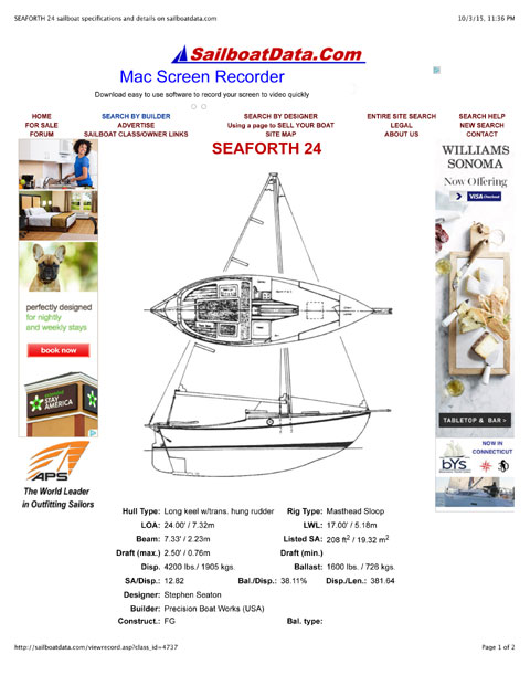 Seaforth 24, 1977 sailboat