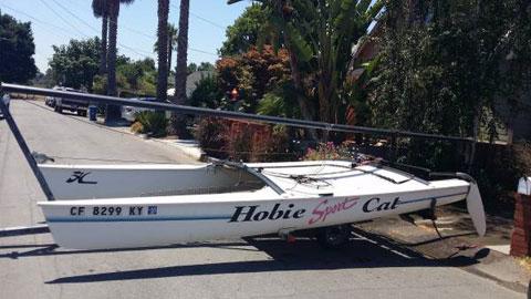 Hobie Cat 17' Sport Sailboat, and Trailer, 1991 sailboat