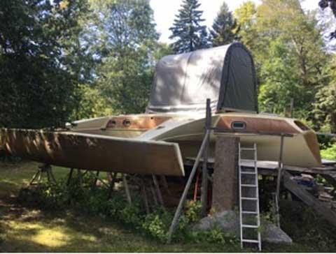 Roger Simpson Liahona Trimaran project, 45 ft., c. 1990 sailboat