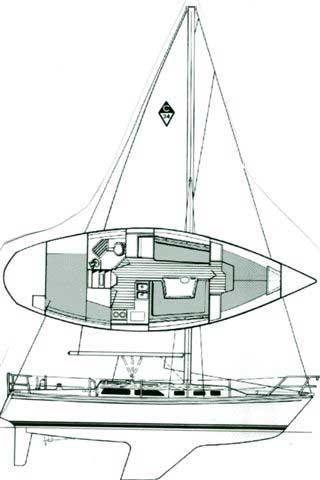 1990 Catalina 34 sailboat drawing