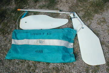 Ghost 13, rudder, centerboard and sails