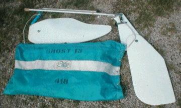 Ghost 13, rudder, centerboard, sails