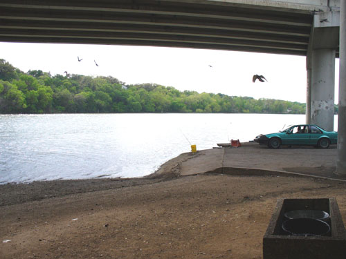 Town Lake boat ramp under I-35 bridge